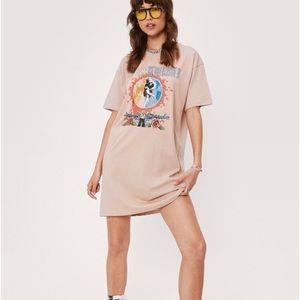 New! Nasty Gal T-Shirt Dress Guns and Roses Tee
